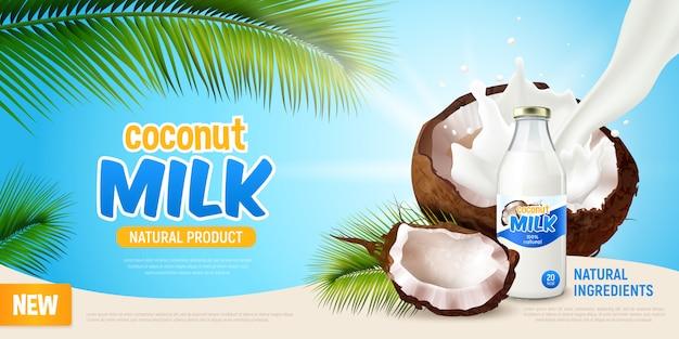 Realistyczny plakat z mlekiem kokosowym z reklamą zielonych produktów, zielonych liści palmy kokosowej z krakingu i niemlecznego wegańskiego mleka w butelce