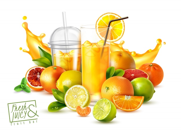 Realistyczny plakat z owocami cytrusowymi i szklankami zimnego świeżego soku na białym tle