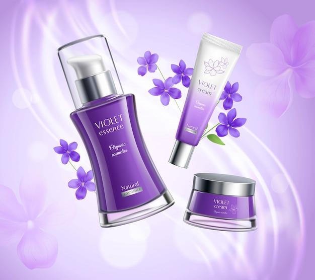 Realistyczny plakat z produktami kosmetycznymi