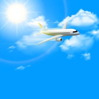 Realistyczny płaski samolot w błękitnym pogodnym niebie