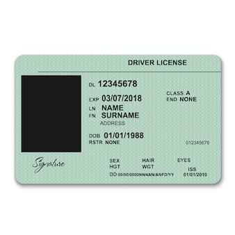 Realistyczny plastikowy szablon przedniej licencji kierowcy