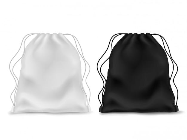 Realistyczny plecak. czarno biały pusty plecak. torba sportowa, plecak szkolny z tkaniny, pokrowiec z sznurkami.