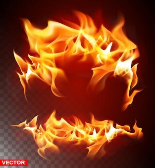 Realistyczny płonący płomień ognia jasny element