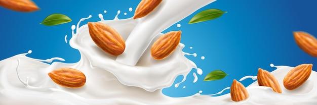 Realistyczny plusk mleka migdałowego z orzechami do naturalnego napoju reklamującego organiczny wegański napój z