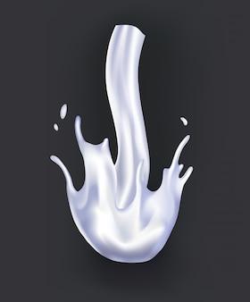 Realistyczny plusk mleka. wlewając biały płyn lub produkty mleczne. przykładowe reklamy realistyczne naturalne produkty mleczne, jogurt lub śmietana, odizolowane na ciemno