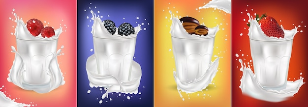 Realistyczny plusk mleka ze świeżymi owocami. truskawka, malina, śliwka, jeżyna. koktajl owocowy.