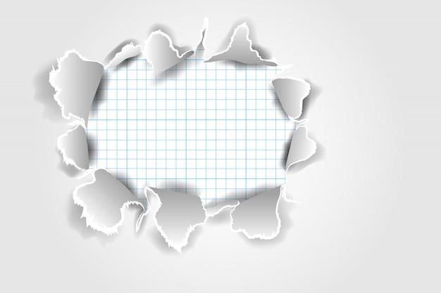 Realistyczny podarty papier z podartymi krawędziami z miejscem na tekst. projektowanie szablonów banerów internetowych i drukowanych, promocja sprzedaży, reklama, prezentacja. pojęcie uszkodzonego rozdarty papier