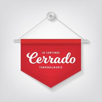 Realistyczny podwieszany szyld cerrado