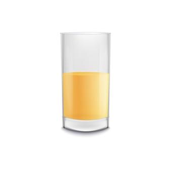 Realistyczny pół pełnej szklanki piwa bez piany, złoty żółty napój alkoholowy w izolowanym kuflu, element reklamy zimnego napoju - ilustracja wektorowa