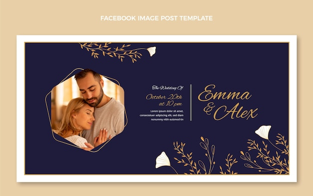 Realistyczny post na facebooku ze złotym ślubem
