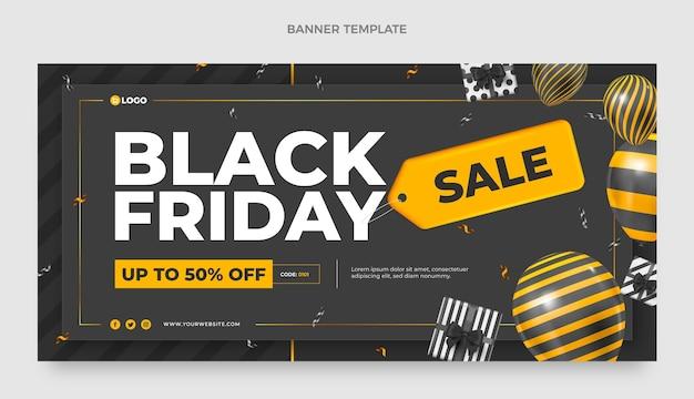 Realistyczny poziomy baner sprzedaży w czarny piątek
