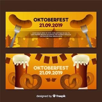 Realistyczny projekt banerów oktoberfest