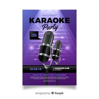 Realistyczny projekt karaoke plakat szablon