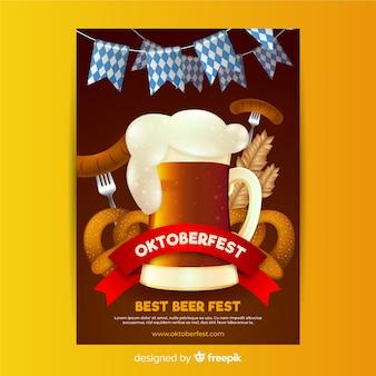 Realistyczny projekt plakatu oktoberfest