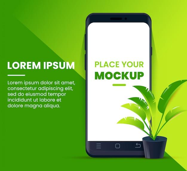 Realistyczny projekt smartfona makiety z liściem