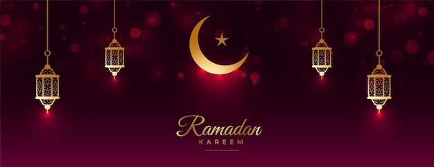 Realistyczny projekt transparentu eid mubarak i ramadan kareem