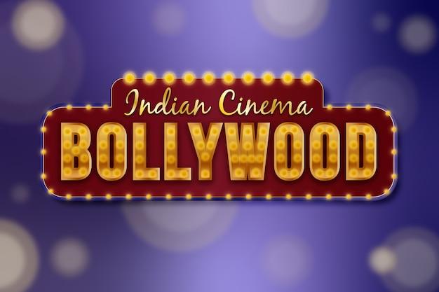 Realistyczny projekt znaku bollywood kino