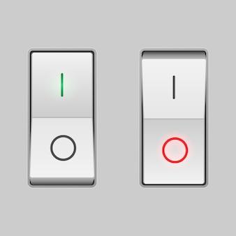 Realistyczny przełącznik. pozycje włączenia i wyłączenia