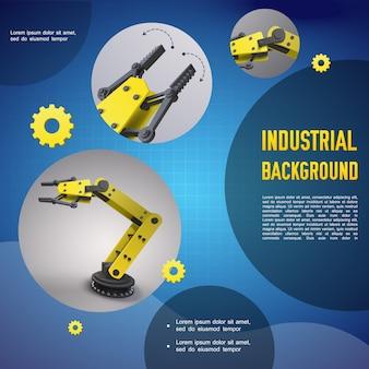 Realistyczny przemysłowy kolorowy szablon z mechanicznymi zautomatyzowanymi ramionami robotów i manipulatorami