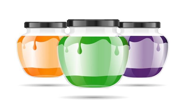 Realistyczny przezroczysty szklany słoik z dżemem, konfiturą lub sosem.