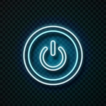 Realistyczny przycisk zasilania neonu do dekoracji technologii i pokrycia na przezroczystym tle.