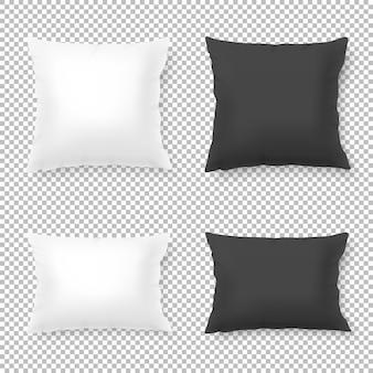 Realistyczny pusty biały, czarny kwadrat i prostokątna poduszka lub poduszka zestaw ikon na białym tle