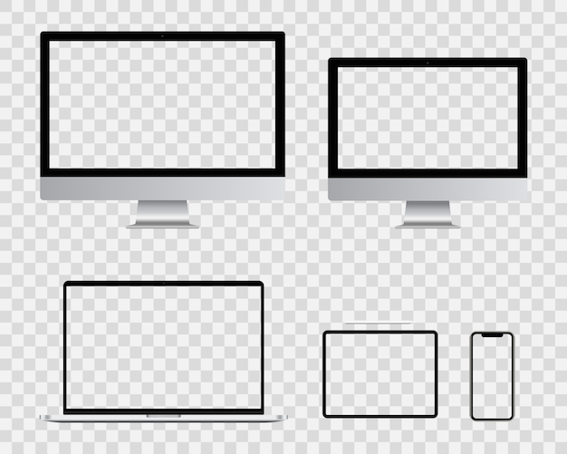 Realistyczny pusty ekran monitora komputera, smartfona, laptopa i tabletu pc. kolekcja zestawu inteligentnych urządzeń cyfrowych.