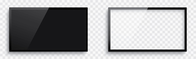 Realistyczny pusty ekran telewizora 3d. pusta ramka tv z cieniem.