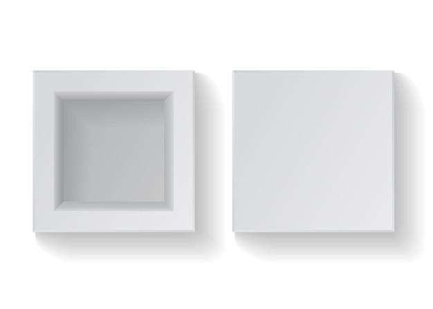 Realistyczny pusty kwadratowy biały karton. ilustracja wektorowa