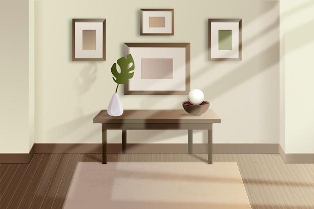 Realistyczny pusty pokój ze światłem słonecznym