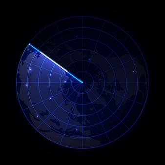 Realistyczny radar wektorowy w wyszukiwaniu. ekran radaru z celami