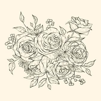 Realistyczny ręcznie rysowane bukiet kwiatów
