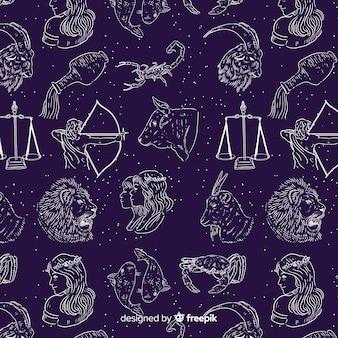 Realistyczny ręcznie rysowane zodiakalny wzór