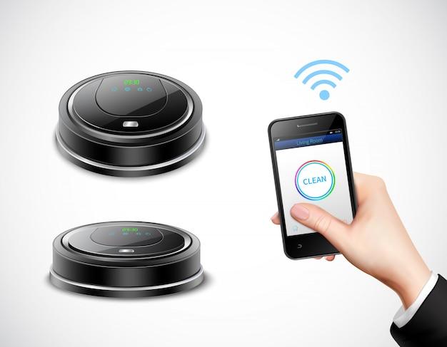 Realistyczny robotyczny odkurzacz z kontrolą wi-fi za pomocą smartfona