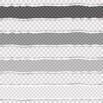 Realistyczny rozdarty papier. kawałek rozdartego, białego realistycznego poziomego paska papieru z miękkim cieniem znajduje się na kwadratowym tle.