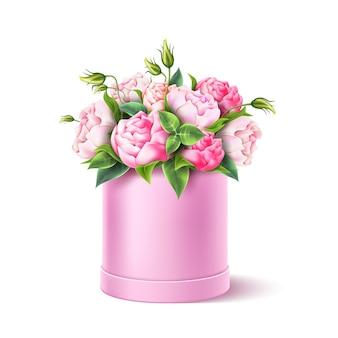 Realistyczny różowy kwiat róży pozostawia bukiet