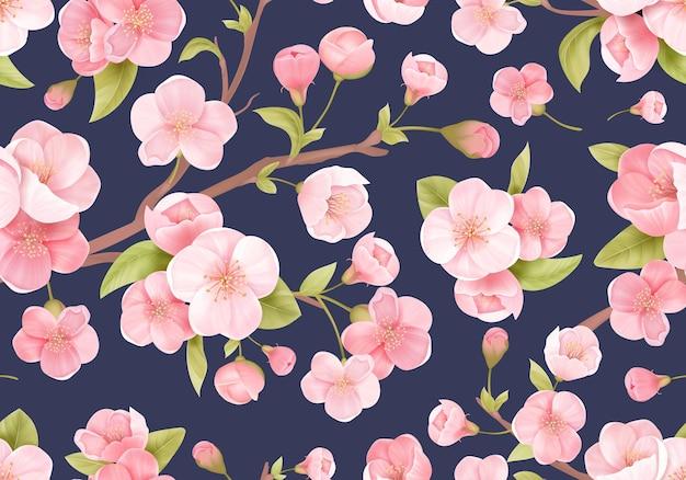 Realistyczny różowy sakura kwiat bezszwowe tło. japoński kwitnienia wiśni egzotyczne tekstury. wiosenne kwiaty, wzór liści na tło weselne, tekstylia, tkaniny