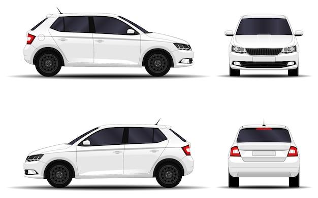 Realistyczny samochód. hatchback. widok z przodu, widok z boku, widok z tyłu.