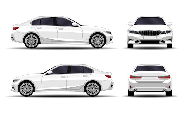 Realistyczny samochód. sedan. przedni widok; widok z boku; widok z tyłu.