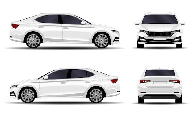 Realistyczny samochód. sedan. widok z boku, widok z przodu, widok z tyłu.