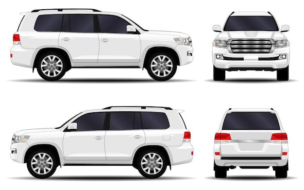 Realistyczny samochód suv. przedni widok; widok z boku; widok z tyłu.