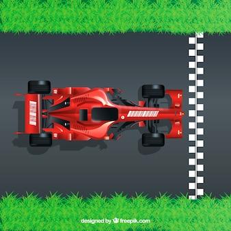 Realistyczny samochód wyścigowy formuła 1 na linii mety