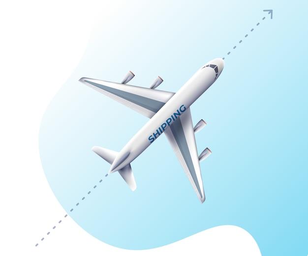 Realistyczny samolot latający, bardzo szczegółowy samolot pasażerski.