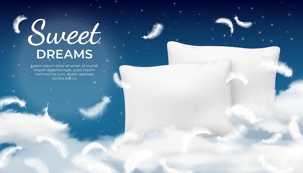 Realistyczny senny plakat z miękką poduszką, chmurką i piórkami. koncepcja relaksu, odpoczynku i snu z nocnym niebem. poduszka bawełniana reklama wektorowa. wygodne spanie na puszystych chmurach na niebie