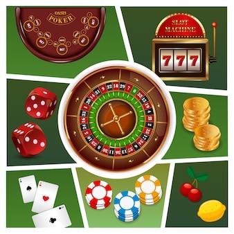 Realistyczny skład elementów kasyna z automatem do gry w ruletkę złote monety żetony do gry w karty do gry w kości na białym tle