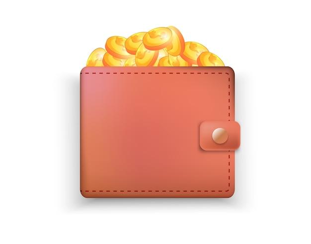 Realistyczny skórzany portfel z monetami. bezpieczeństwo pieniędzy.