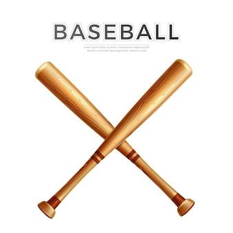 Realistyczny skrzyżowany kij bejsbolowy. drewniane patyki