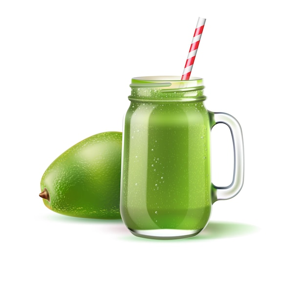 Realistyczny słoik do smoothie ze słomką i owocami awokado. zielona mieszanka owoców i warzyw w szklanym słoiku. koktajl detoksykacyjny dla zdrowej diety. shake ze szpinakiem, kiwi i selerem. koktajl witaminowy