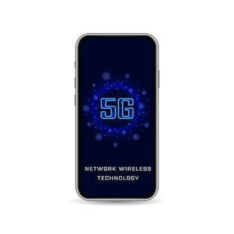 Realistyczny smartfon, bezprzewodowe połączenie z internetem 5g. nowa generacja szybkiej sieci