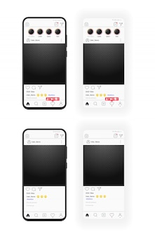 Realistyczny smartfon i szablon mediów społecznościowych z przezroczystą ramką na zdjęcia. smartfonie. opinie subskrybentów przesuń w górę ankietę. przezroczyste tło.